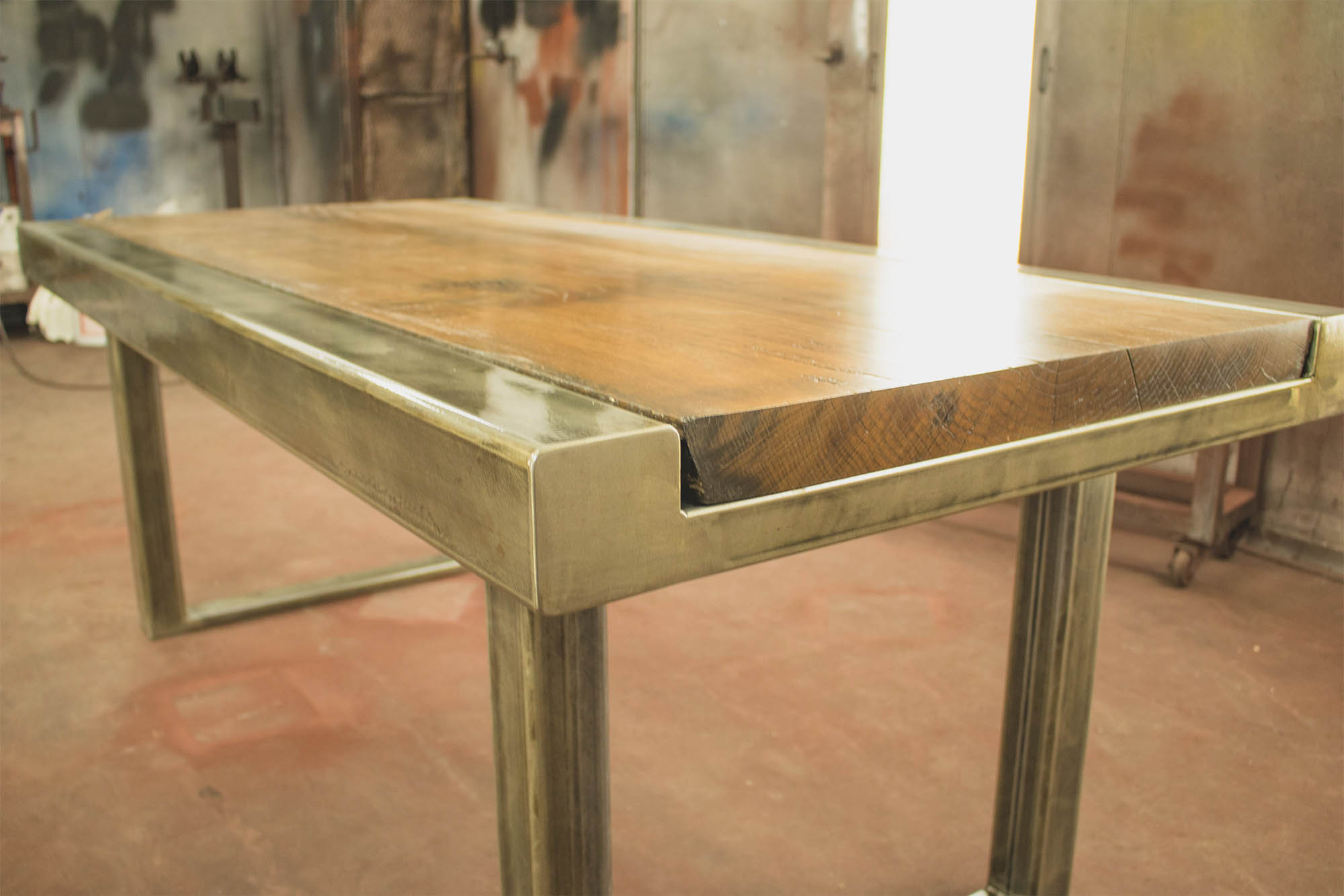 Custom dining table beer city metal works construction - White metal dining table ...